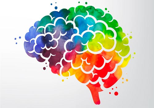 Colours from the rainbow in a brain to show mental well-being, clinical psychologist services at Medical centre Darwin
