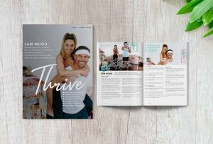Front cover of Thrive Magazine with Sam Wood